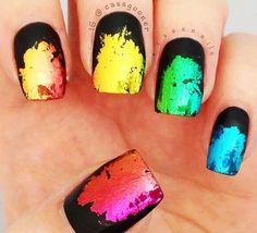 wonderful effect #rainbownails with foil on black #mattenails