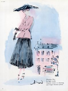 Christian Dior Sketch 1947.  Sketch by Christian Berard.