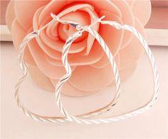 Love Heart Shaped Hoop Earrings 925 Sterling Silver Latchback Closure NWT  #Dorado #Hoop