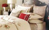 Martha Stewart Dreamtime Floral Euro European Pillow Sham Quilted Beige