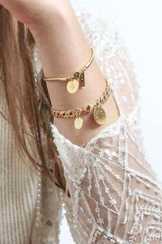 Odin Bracelet - Gold Bracelet with Twopo on b Medallions Shlomit Ofir Jewelry Design Gold Bangles, Silver Bracelets, Bangle Bracelets, Tiffany Bracelets, Layered Bracelets, Silver Ring, Coin Jewelry, Jewelery, Jewelry Crafts