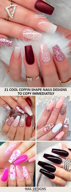 >>>Cheap Sale OFF! >>>Visit>> Coffin shape nails look extremely sensual and sophisticated. They are a great canvas for various colors and nail art. Acrylic Nail Shapes, Cute Acrylic Nails, Cute Nails, Types Of Nails Shapes, Coffin Shape Nails, Bridal Nails, Bling Wedding Nails, Gorgeous Nails, Trendy Nails
