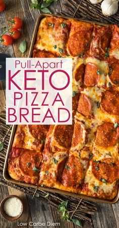 Pizza craving? A special keto dough makes this luscious pizza bread extra indulgent. Slice or pull-apart.