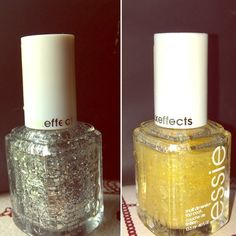 Set of 2 Essie luxeffects silver and gold Be sure to look at pics. Set includes one Essie luxeffects silver shade in set in stones and one Essie luxeffects gold shade in as gold as it gets. I feel like everyone should know these are not solid gold or silver but rather perfect polishes to go over other polishes to add a very bright pop of gold or silver. If applied enough both could create a full silver or full gold look. Look at photos, line indicates where polish is at in bottle. Swatched…