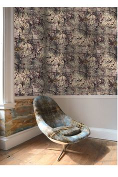 An Abstract Expressionist inspired patterned wallpaper perfect for a living room accent wall or a statement hallway, bedroom or dining room.