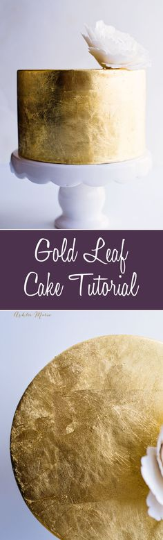 adding gold leaf to a cake is elegant, crazy gorgeous and so much easier than you think - full video tutorial: (Chocolate Frosting Paint) Cake Decorating Techniques, Cake Decorating Tutorials, Cookie Decorating, Gold Leaf Cakes, Gold Cake, Drip Cakes, Cake Cookies, Cupcake Cakes, 3d Cakes