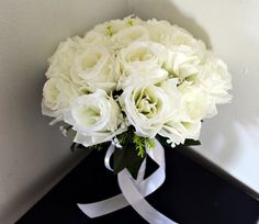White roses bridal bridesmaids bouquet by WeddingSilkFlowers