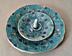 Ceramic Trinket Bowl and matching ring holder Teal Peacock edged in gold