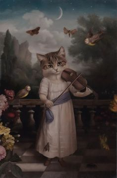 Stephen Mackey cat and fiddle Music for Night Children Stephen Mackey, Old Town Pasadena, Renaissance Era, Majestic Animals, Fantasy Setting, Pop Surrealism, Funny Animal Memes, Cute Cats And Kittens, Surreal Art