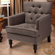 @Overstock.com - Christopher Knight Home Malone Charcoal Grey Club Chair - The Malone Club Chair features studs, tufting, and even carved wood legs that denote only the finest club chair elegance.  http://www.overstock.com/Home-Garden/Christopher-Knight-Home-Malone-Charcoal-Grey-Club-Chair/6808278/product.html?CID=214117 $270.74