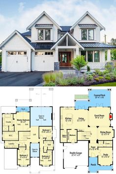 Sims House Plans, House Layout Plans, Craftsman House Plans, Dream House Plans, House Layouts, Modern House Floor Plans, Beautiful House Plans, Modern Craftsman, Modern Family House