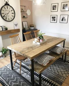 51 Modern Farmhouse Dining Table Ideas You Must Have - For those who live out in the country in a ranch house, farm house, log cabin or any country style home for that matter and are looking for a dining t. Dining Table With Bench, Dining Table Design, Wood Dining Room Tables, Dining Table Decorations, Small Dining Tables, Dining Table Upcycle, Small Dining Table Apartment, Small Living Dining, 8 Seater Dining Table