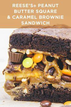 Layers of brownies, caramel, and pretzels all surrounding a REESE'S Peanut Butter Square, sounds amazing right? This decadent dessert is sure to be a favorite!