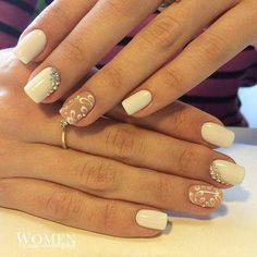 Beautiful nails 2016, Beige dress nails, Delicate wedding nails, Fashion nails 2016, Gentle summer nails, Manicure by summer dress, Nails ideas 2016, Nails with curls