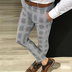 Brand Name: GoocheerPant Style: Pencil PantsMaterial: PolyesterMaterial: SpandexThickness: MidweightStyle: CasualFit Type: REGULARFabric Type: WorstedDecoration: PocketsWaist Type: HighClosure Type: Button FlyLength: Full LengthFront Style: Flat Plaid Pants, Plaid Dress, Casual Pants, Men Casual, Formal Pants, Long Pants, Cropped Pants, Slim Fit Pants, Love Clothing
