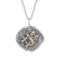 Elegant initials, entangled with meaning (yours).  Presenting the Interlocking Monogram Charm.  Timeless.  Wonderful. Apropos of... everything.  You choose the letters and we set you up.      Sterling Silver, 3/4""