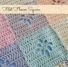 Crochet Squares Design Ravelry: Filet Flower Square pattern by Crafty Queens - Crochet Square Patterns, Afghan Patterns, Crochet Squares, Crochet Stitches, Crochet Hooks, Granny Squares, Crochet Wraps, Crochet Blankets, Crochet Granny