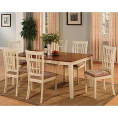 East West Furniture Nicoli 7 Piece Windowpane Dining Table Set