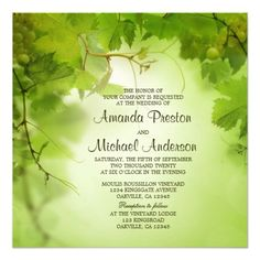 Wine inspired, vineyard, grape vine or winery themed wedding invitation. Featuring a beautiful green grape leaves design.