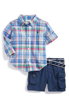Ralph Lauren Madras Plaid Shirt & Shorts (Baby Boys) available at #Nordstrom