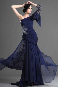 eDressit 2013 Neue Artikel Dunkel Blaue Abendkleid mit Einzelnschulter