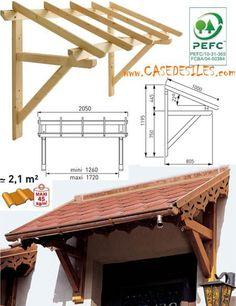 Auvent en bois en Promotion : Auvent bois porte et fenêtre 1 pan MAR2010