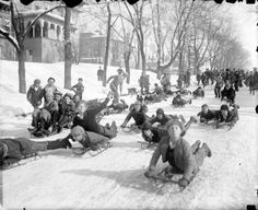 100 years ago today. Dec 1st, 1913 The storm of the century. Kids sledding down 8th avenue.