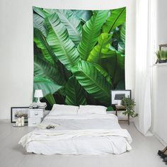 Plant lover gift for wall decoration, fabric wall hanging, Leaves, Bohemian decor, Nature, Green art. UL124 Tapestry Nature, Wall Tapestry, Affordable Wall Art, Leaf Wall Art, Green Art, Plant Wall, Print Pictures, Bohemian Decor, Gift For Lover