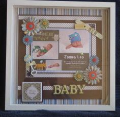 Custom Created Shadowbox of Special Event - Baby Boy Announcement by Peggysprettypages