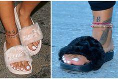 Rihanna Flexes Next Puma Shoe-A Furry Slide - The Snobette