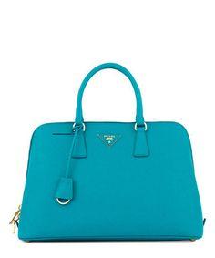 Turquoise leather zip-around grab bag Sale - Prada Sale