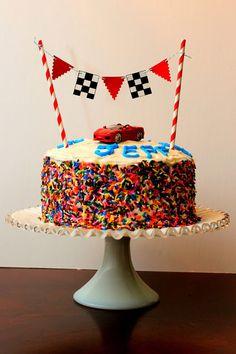 Ferrari Racing Birthday Cake With Checkered Flag Cake topper banner