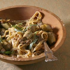 hands down, one of the best pastas ever.  Fettuccine with artichokes and chicken.