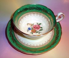 Green Border & Floral Center Aynsley Tea Cup and Saucer Set