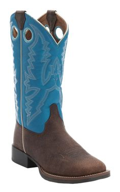 Justin® Youth Chocolate Buffalo w/Blue Top Square Toe Western Boots