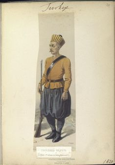 Soldier of the 1st reform of Sultan Mahmoud II. (post 1808). The Vinkhuijzen collection of military uniforms / Turkey, 1818. See McLean's Turkish Army of 1810-1817.