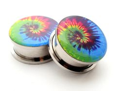 Screw On Plugs - Tie Dye Picture Plugs gauges - 16g, 14g, 12g, 10g, 8g, 6g, 4g, 2g, 0g, 00g, 7/16, 1/2, 9/16, 5/8, 3/4, 7/8, 1 inch on Etsy, $17.99