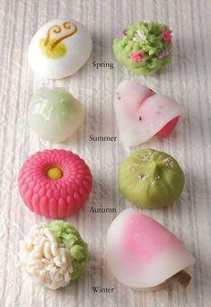Namagashi (es el wagashi pero con patrones especificos de las 4 estaciones)