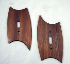 "I could easily make these... some nice 1/2"" thick wood, good measurements, my incredible eye for design, my trusty Dremel, some stain and Voila! MCM Switch Plate Covers. That would particularly add some classy punch in the kitchen/Great Room area.  Oooo... new project! Because god knows I don't have enough on my list now.  >>>   Pair of Vintage Mid Century Modern Light Switch Plate Covers NORWAY"