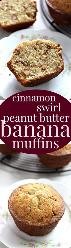Cinnamon Swirl Peanut Butter Banana Muffins - soft and fluffy banana muffins with a surprise cinnamon swirl and peanut butter chips.