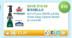 Bissell Big Green Cleaner Rental at Lowe's $10 off or $15 Purchase