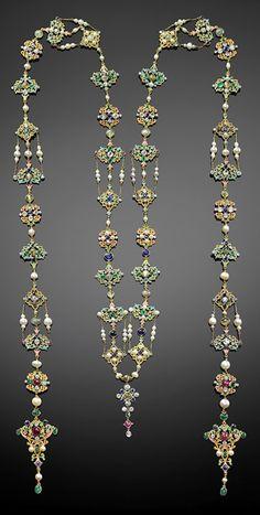 G. Paulding Farnham for Tiffany & Co. - A Renaissance Revival neck ornament, 1900–04. Composed of platinum, gold, enamel, diamonds, rubies, emeralds, cat's eye, chrysoberyl, sapphires, and pearls. #PauldingFarnham #Tiffany #antique