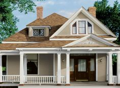 Tan House With Black Shutters Brown Call It Taupe With White Trim Dark Green To Black