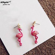 Fashion Cute Little Daisy Flower Stud Earring Rhinestone Flamingos Bird Stud Earrings For Women Jewelry boucle d'oreille femme on Aliexpress.com | Alibaba Group