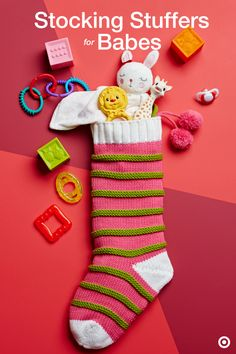 Capture the magic of Christmas with a sweet knit stocking stuffed with all sorts of goodies, courtesy of Santa. Your baby will adore cute little toys, blocks, blankets, pacifiers and maybe a board book or two. Let the merriment begin!