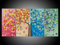 """Original Modern Abstract Heavy Texture Impasto  Painting Landscape Tree Wall Decor """"365 Days of Happiness"""" By qiqigallery"""