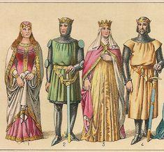 Trajes y armas del siglo XIII.