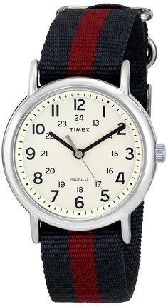 Amazon.com: Timex Weekender Analog Watch w/ Bluish-Grey & Red Nylon Band- T2P469: Watches