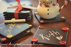 Possible teacher gift  Chalkboard Coaster Set | 23 DIY Holiday Gifts Kids Can Give To Their Parents