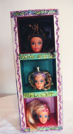 OOAK Groovy Retro Barbie Heads Girl Doll Art w/ Glitter-Tiered Hardwood Shadow Box